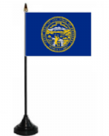 Nebraska Desk / Table Flag with plastic stand and base.